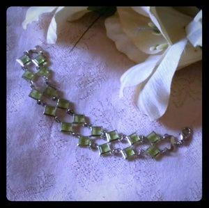 Vintage Light Green Lucite Link Bracelet